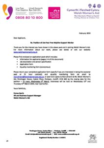 WWA Helpline Support Worker - Cover letter and information ...